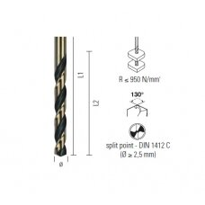 Grąžtas plienui ECEF GOLD/BL. HSS-G M2 DIN 338 6.50 mm