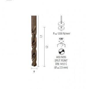 Grąžtas plienui ECEF HSS-COBALT 5% M35 11.00mm.