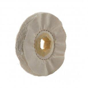LEA Poliravimo diskas 100 mm x 15 mm, Hex vidinė skylė, (40 fold) Calico LG Loosefold, baltas