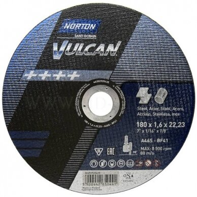 Norton pjovimo diskas A46S-BF41 180x1.6x22.23 VULCAN METAL/INOX