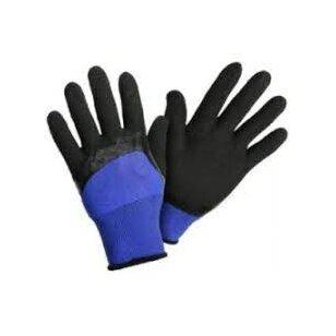 Pirštinės aplietos minkštu juodu lateksu, mėlynos, 8 dydis