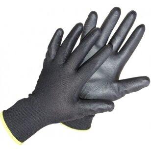 Pirštinės aplietos poliuretanu, impregnuotos, juodos, 10 dydis