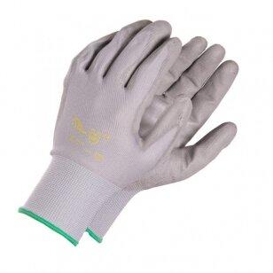 Pirštinės aplietos poliuretanu, impregnuotos, pilkos, 11 dydis