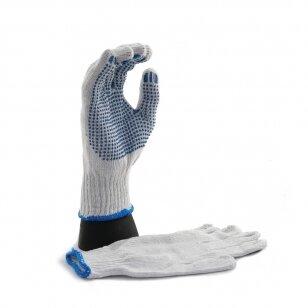 Pirštinės megztos su mėlynais PVC taškeliais ant delno, 10 dydis