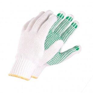 Pirštinės megztos su žaliais PVC taškeliais ant delno, 10 dydis