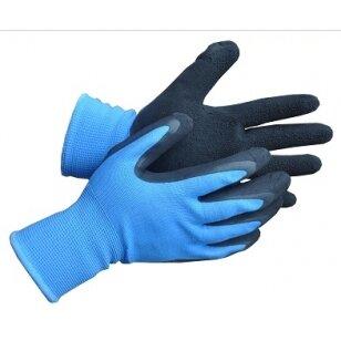 Pirštinės aplietos juodu lateksu, mėlynos, 8 dydis
