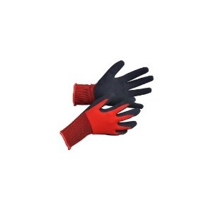 Pirštinės trikotažinės aplietos juodu lateksu, raudona, 8 dydis